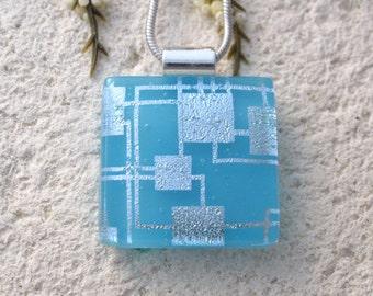 Peite Silver Aqua Necklace, Fused Glass Jewelry, Fused Glass Pendant, Dichroic Glass Jewelry, Blue Necklace, Silver Necklace, 112616p10