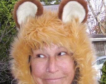 Furry Lion Hat Hood Halloween Big Cat Costume Party fur Hat King of Jungle Hood OOAK Furry Animal Beast Hood Adult Unisex Furry Hood