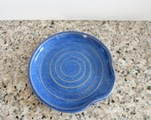 Blue Spoon Rest - Ladle Rest - Glazed in Indigo Swirl - Royal Blue - Kentucky blue - Ready to ship, Handmade studio pottery