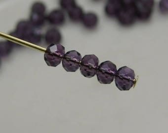 3x2mm Faceted Rondelles Crystal Beads Purple Abacus (Qty 25) CC3x2R-Prp