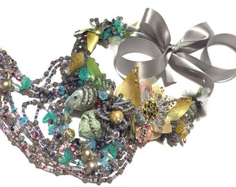 Reserved or Joanne, The Green fairy tale garden, Haute couture choker necklace