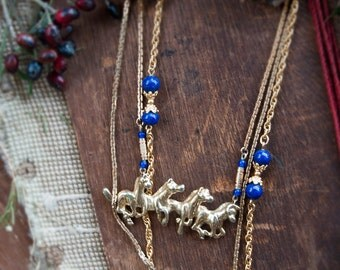 The Four Horsemen Layered Necklace / Universe Galaxy / Layering Necklace / Statement Long Necklace / Horse Necklace / Gold Glitter