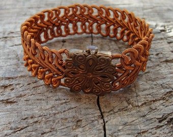 Woven Copper Bracelet Herringbone style Wire wrapped Statement jewelry