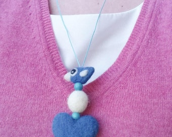 Necklace pendant wool felt needle felted blue birdie bird heart ball