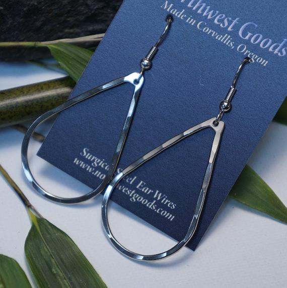 Nickel Silver Teardrop  Earrings