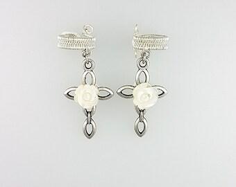 Cross Ear Cuff, Silver Cross Earrings Jewelry, Cross Cuff Earring, Jesus Ear Cuff, Jesus Earrings, Crucifix Earrings, Christian Earrings