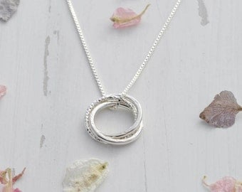 Sterling Silver Russian Ring Necklace - Linked Circle Necklace - Eternity Circle Necklace - Interlocking Necklace - 30th Birthday Gift