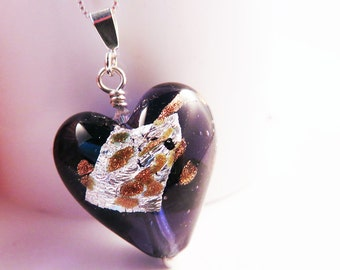 Murano Glass Heart Pendant on Sterling Silver Chain, Purple, Gold and Silver, Mother's Day Gift for Her, Eye-Catching Design, Romantic Gift