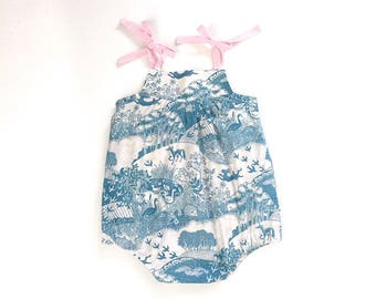 baby sizes only: blue/cream woodland print romper