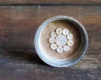 Decorative Vintage Mason Jar Zinc Lid and Vintage Mother of Pearl Buttons Decorative Frame