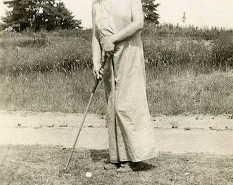 vintage photo 1939 Detroit Michigan Teen Girl Playing Golf