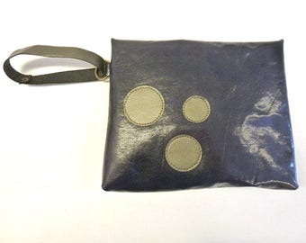 "Dark blue leather pouch, handheld leather pouch, Dark blue purse bag with bronze leather circles, MALAM, 8x7"" - 20x17cm"
