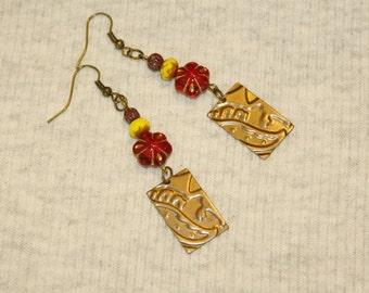 """POPPY Glass Flower Style Boho Earrings Brass and Lampwork Bead 2.5"""" Dangles Gypsy Girl Festival Bohemian Earrings"""