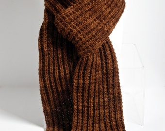 Men's Alpaca and Wool Ribbed Scarf in Rust