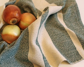 Handwoven Hunter Tea Towel/ Kitchen Towel/ Cotton Towel/ Hand Towel/ Guest Towel/ Dish Towel/ Striped Towel/ Green Tea Towel/ Green Towel