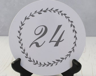 Wedding Table Numbers - Round Table Number Cards - Country Table Number Cards -  Spring Wedding Table Number Cards