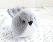 Light Gray Handmade Bird Stuffed Animal Childrens Fleece Bird READY TO SHIP