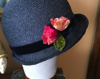 """Revived 1920s blue straw cloche hat with silk velvet roses 22"""""""