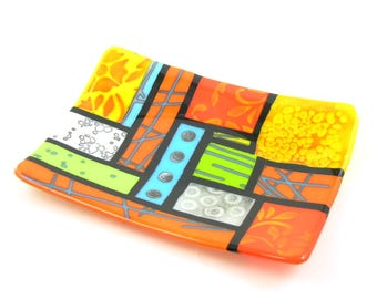 Fiesta Plate - Colorful Home Decor - Abstract Reactive Glass - Powder Printed Glass - Glass Pattern Collage - Tangerine Lime Green Yellow