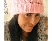 Pink Cabled Crochet Hat