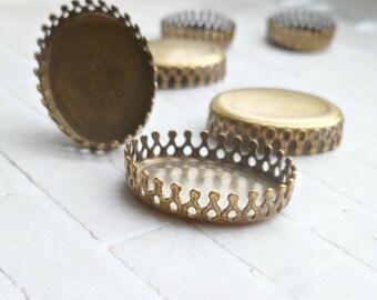 Four Brass Ox Crown Settings - 20x15mm (45-6F-4)