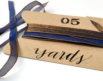"Fancy Blue Gold Ribbon, 5 Yards Sheer, Iridescent Thin 1/4"" Ribbon, Indigo Blue, Antique Gold Holiday Ribbon, Wedding Invitation Ribbon"