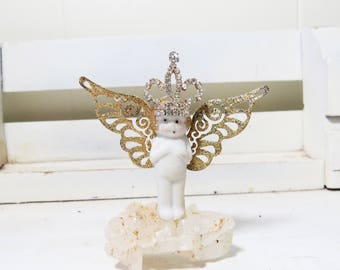 Crystal Fairy - Fairy Queen on Quartz Crystal-