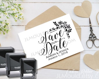 1009 SELF INKING Custom Personalized Rubber Stamp JLMould Save the Date Wedding Invitations SavetheDate Anniversary CardsInvites