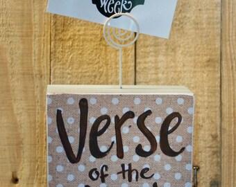 Verse Of The Week Card Holder - polkadot/blue edge - variety neutral print - scripture memory - homeschool - sunday school