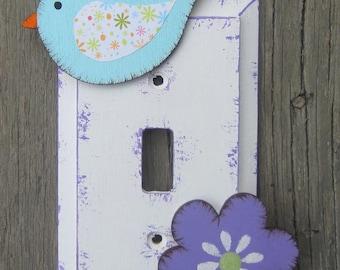 Bird & Flower Girls Switch Plate Cover - Original Hand Painted Wood