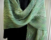 RESERVED for the Customer Blue Play - Mown Grass - Arashi Shibori Hand Dyed & Hand Pleated Silk Shawl/Scarf