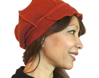 100% Cashmere Upcycled Hat - Rust Orange - womens, knit, newsboy cap, upcycled, eco-friendly