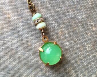 Green glass opal rhinestone necklace. Tiedupmemories