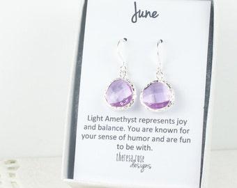 June Birthstone Earrings, Light Amethyst Silver Earrings, June Birthday Earrings, Birthstone Jewelry, Silver Earrings, Bridal Earrings, #584