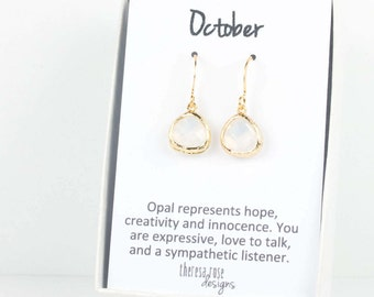 October Birthstone Gold Earrings, Tiny White Opal Gold Earrings, White Gold Earrings, October Birthstone Earrings, October Birthday Gift
