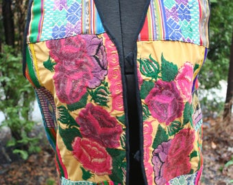 Guatemalan Guatemala vintage hippie patchwork vest colorful large cotton handmade