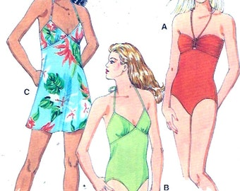 One piece swimsuit  sewing pattern resort holiday vacation Beach bathing suit Kwik Sew 3416 Sz XS to XL UNCUT sealed