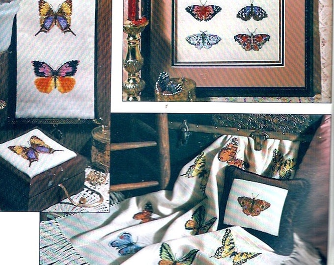 Butterflies Winged Beauties Papillon Leisure Arts Leaflet 2166 needlepoint 90s designs for Charted cross stitch projects DIY how to