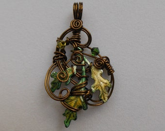 Green Oak Leaves Pendant -- Sculpted Antique Brass Wire, Green Hand Colored Oak Leaves, Swarovski Crystals, Elven Jewelry, Forest Oak Leaves