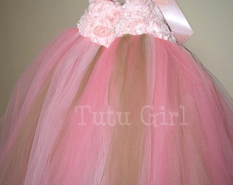 Coral Gold Tutu Dress with Peach Flowers - Flower Girl Tutu Dress