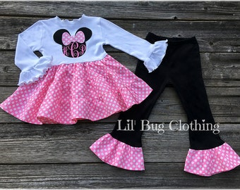 Personalized Minnie Mouse Girl Outfit, Minnie Mouse Tiered Top And Pant Outfit,  Pink Minnie Mouse Birthday Party outfit