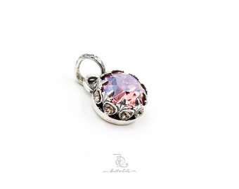 Pink Chiffon Enchantress Pendant // made to order  Swarovski and Sterling Silver Sparkle Pendant, by BellaLili, Welded Silversmith