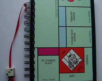 Recycled Monopoly Board Spiral Bound Journal Upcycled Tablet Notebook
