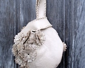 Ivory Leather Wristlet with Flowers by Stacy Leigh