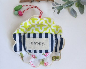 fabric scrap modern patchwork Happy lavender sachet ornament,  flower shape sewn fabric sachet Happy ornament, lavender gift No. 45