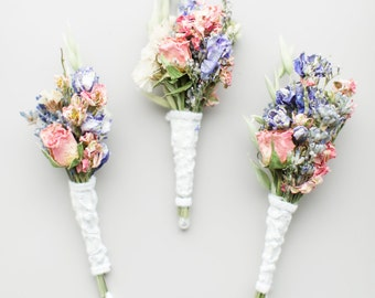 3 Montana Romance and Lace Boutonnieres Pin On Corsages of Dried French Lavender Rose Bud, Blue & Pink Larkspur Grooms Best Man Groomsmen