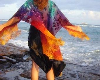 Silk velvet burnout ruana caftan handdyed ombré made to order