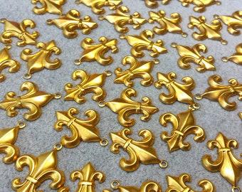 Gold Fleur de Lis, Fleur de Lys, Gold Tone Brass 1 inch Fleur de Lys Charms - 1 inch long - 36 Charms