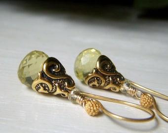 Lemon Quartz Gemstone Earrings, Onion Briolette, Gold Teardrop Earrings, Pale Lemon Yellow Earrings, Genuine Lemon Quartz