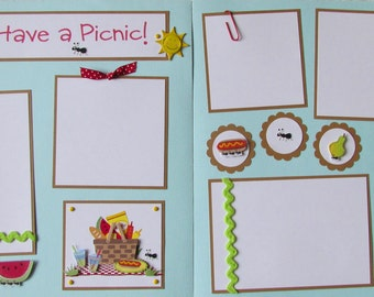 12x12 Premade Scrapbook Pages -- LET'S HAVE a PICNIC -- summer cookout family friends